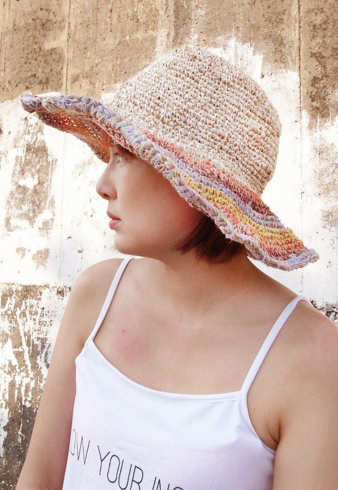 Handmade Hand-woven Hemp and Cotton Hat with adjustable edges, Wide brimmed hat,