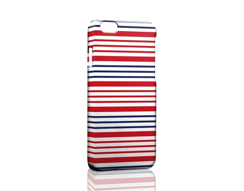 Red white and blue stripes iPhone X 8 7 6s Plus 5s Samsung note S9 Mobile Shell