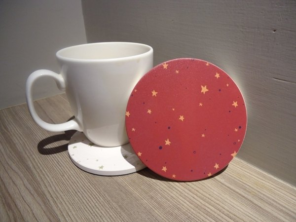 Tranquil Star // // absorbent ceramic coaster yellow stars in the sky wolfberry color