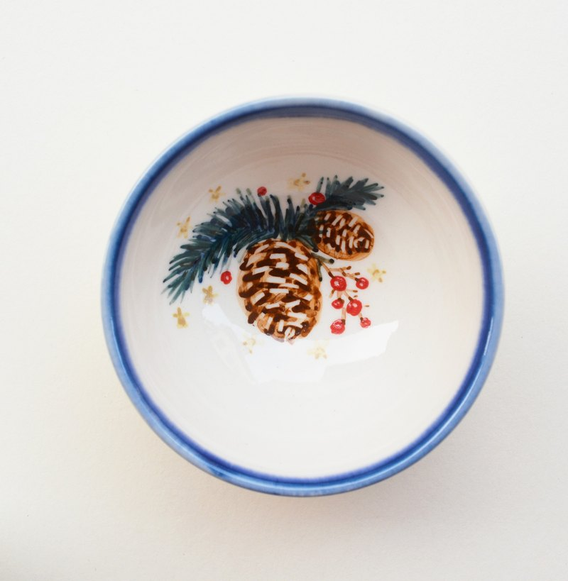 Hand drawn small cup - Christmas pine cones