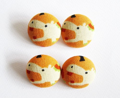 Cloth button sewing knitting hand-made material orange bottom hippo