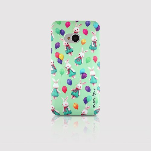 (Rabbit Mint) Mint Rabbit Phone Case - Bu Mali balloons Series Merry Boo - HTC One M7 (M0010)