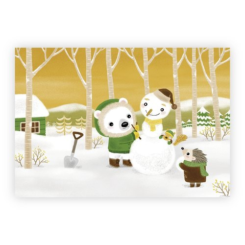[Poca] illustration postcard: forest snowman friend (No. 29)