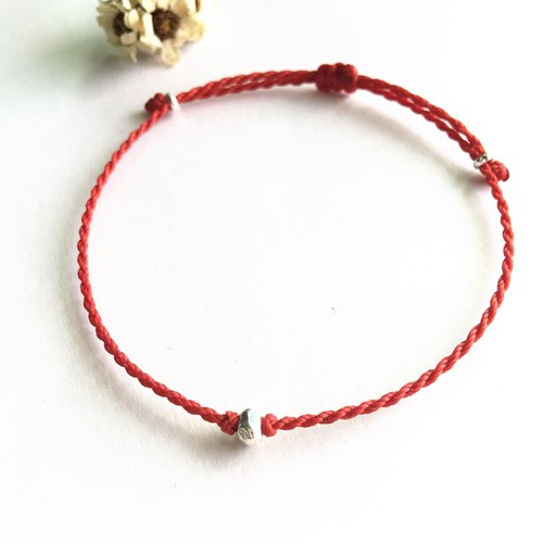 ~ M + bear ~*Simple*Red simple fine bracelet 925 sterling silver Japan wax line