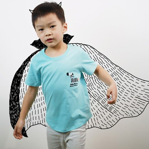 Cotton handmade children shape T-Shirt - Zebra (Pink Aqua Blue) Childlike rainbow on