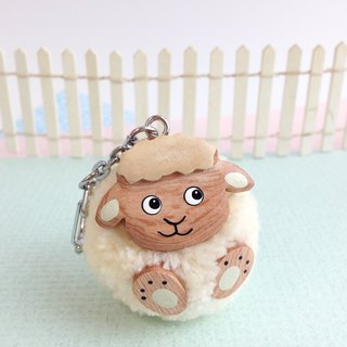 Handmade wooden [x] ♦ yarn Peng Peng fat face lamb key ring / Charm