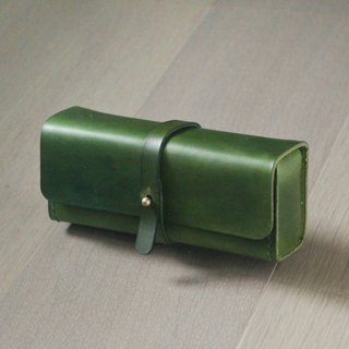 Green vegetable cow hide leather Pencil Case/Pen Pouch/ Sunglasses Case