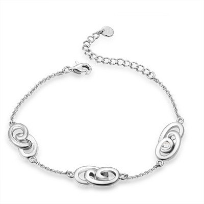 "Hong Kong Design ""moving sweetheart"" BLING BLING 925 silver plated Platinum Bracelets"