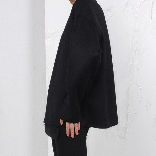 Gao fruit / GAOGUO original designer brand women's asymmetrical black wool double-sided jacket coat