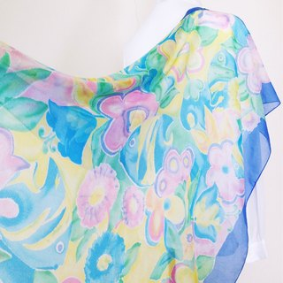 When vintage [flowers tropical fish vintage shawl / large scarf] abroad back to vintage scarf VINTAGE