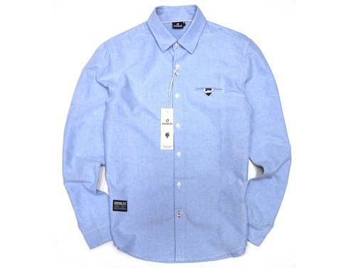 Doodles Hong Kong original design boys cotton casual shirt light blue