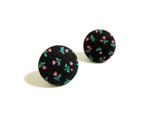 Floral black cloth buckle earrings clip-on earrings can do