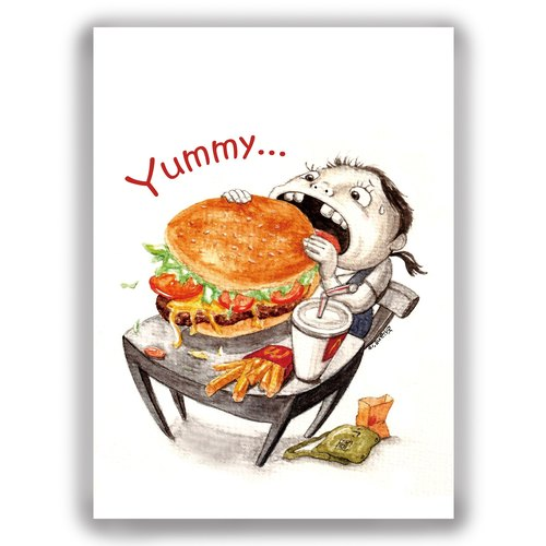 Hand-painted illustrations Multipoint cards / postcards / cards / illustrations cards - Big Burger students bag desks and chairs