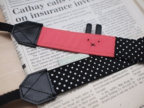 hairmo. X double-hung mouth rabbit skin graft camera strap - black dot + Rose (General)