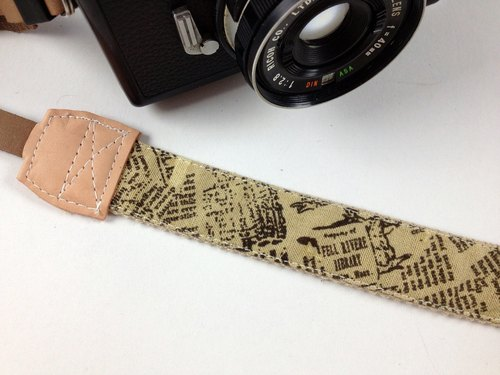 Hand made ​​monocular camera strap decompression class monocular camera back rope ---Vintage Newspaper Text--- brown