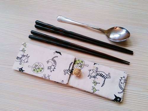 Cotton cloth bags Environmental chopsticks chopsticks sets of bunk twin sets of chopsticks cat pottery gas group