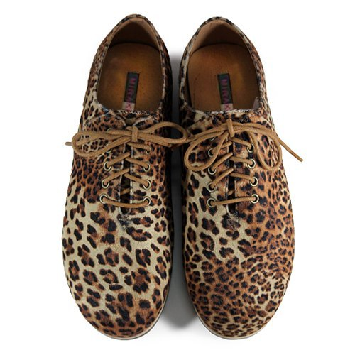 Two Tone Lace-up Shoes M1105A Wild Leopard