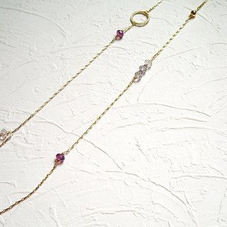 Gray purple asymmetrical Swarovski long chain