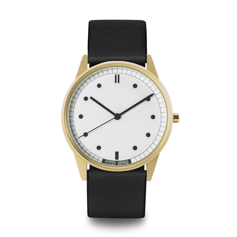 HYPERGRAND - 01 Basic Series - Gold White Dial Black Leather Watch