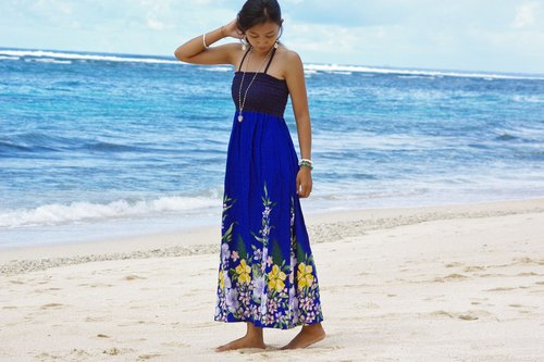 Tropical Flower Long dress <Blue>