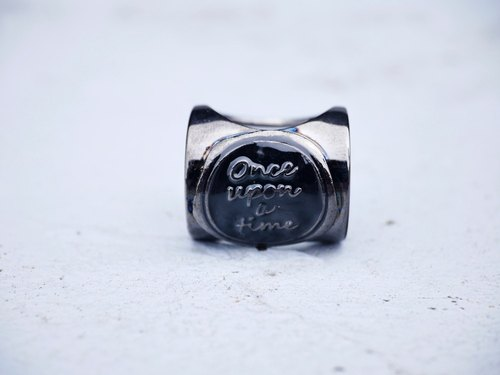 "Continental ancient wax seal Cap - black nickel color black wax ""Once upon a time * Ring"""