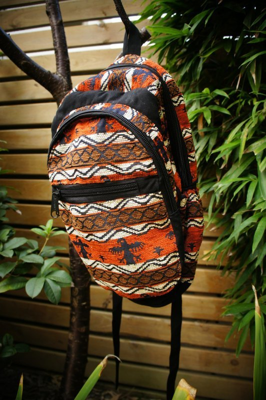 Vista [knowledge], Alfonzo stamp series - after hand-woven backpack - Orange