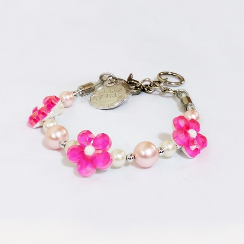 Ella Wang Design dimensional flowers pearl necklace - pink pet collar fashion Hand Size: XS ~ M +