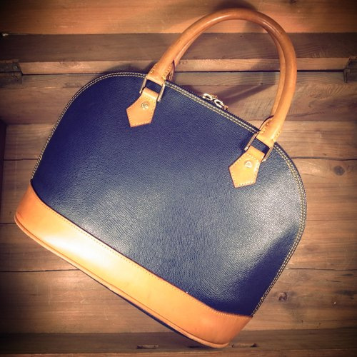 [Bones] Christian Mode portable x dark blue leather caramel color scratch leather bag crusty shell genuine antique print bag Vintage