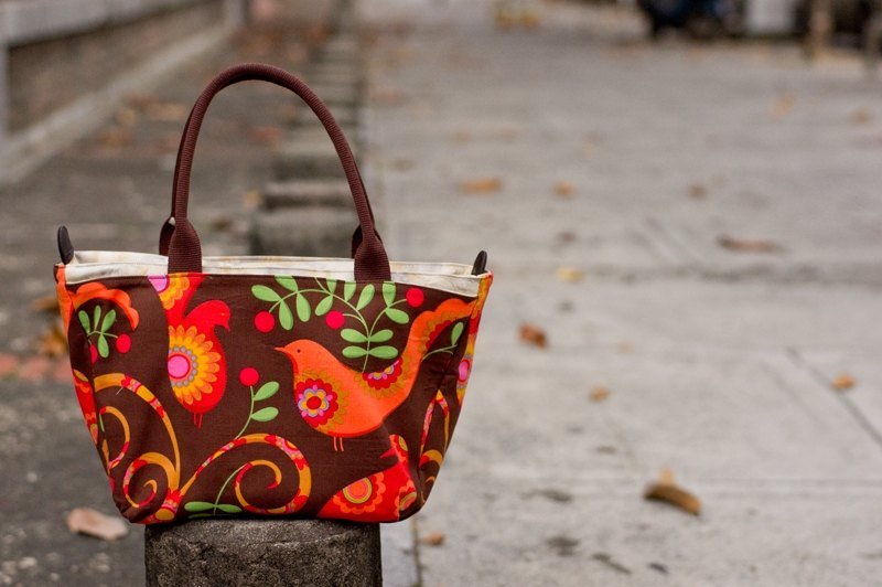 Love the Earth fruit and hand-made bag * 3 layer birds Handbag | choose your favorite fabric