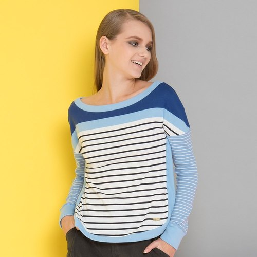 Boat collar change stripe stitching long sleeve top