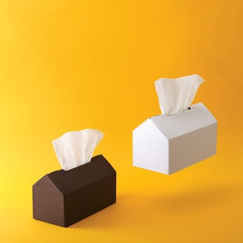 House - House shape tissue box / Wood Series / Coffee & pure white