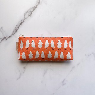 Handmade orange white bird pattern pencil case