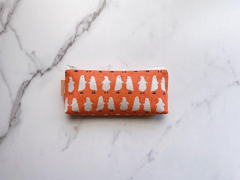 手工製作橘色白鳥圖樣筆袋