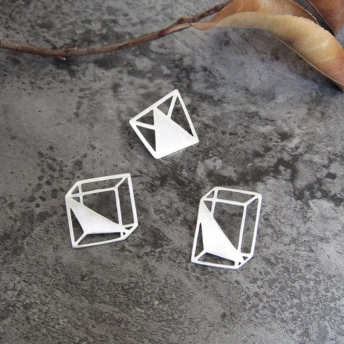 S925 silver rectangular original design geometry, cube, triangular pyramid stereoscopic silver brooch