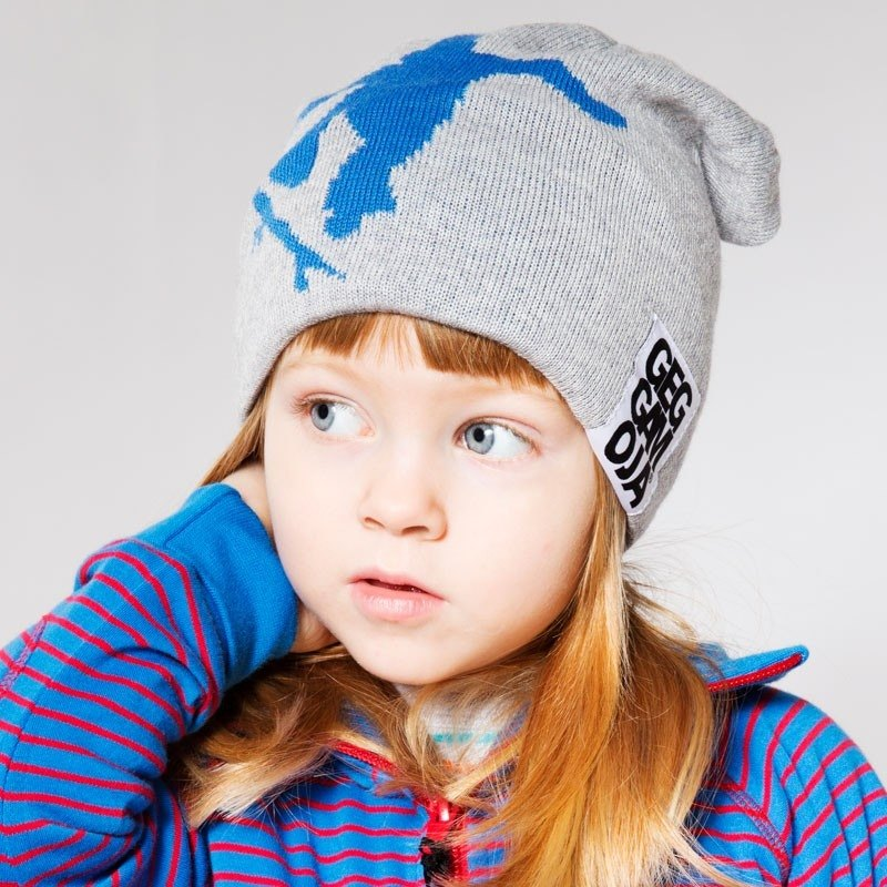 【Made in Sweden】 organic cotton wool knitted wool cap gray (for 2Y-6Y)