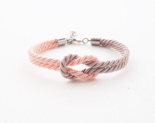 Peach / light brown rope bracelet
