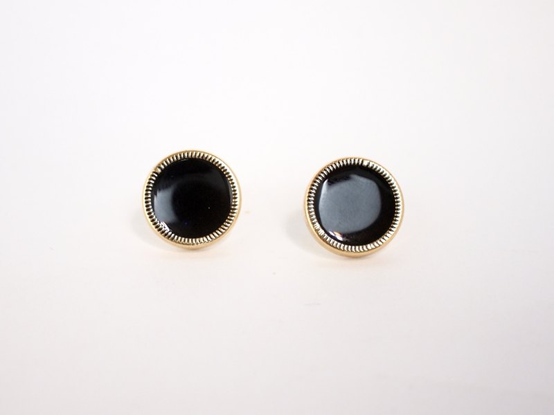 Circle dot Black Pizza Stainless Ear Earrings Ear Clip Earrings 323