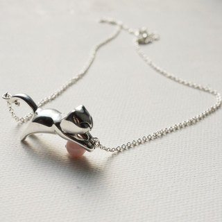 [Silver] hand-Petite Fille cat pill (play) Silver Necklace