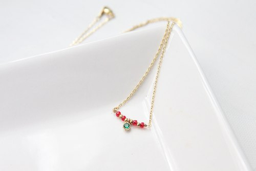 Christmas goods / Little Christmas wreath / gold necklace / gift exchange