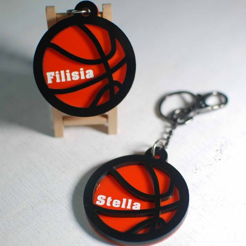 Basketball keychain customized / engraved name [school name] + back number / Day / graduation gift