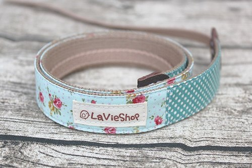 French Floral X Dot (Aquamarine blue ) 25mm Handmade Camera strap Customizable