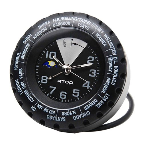 ATOP world time zone watch - black and silver VCK-11