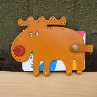 ISSIS - All handmade leather red nose elk shape leisure card set
