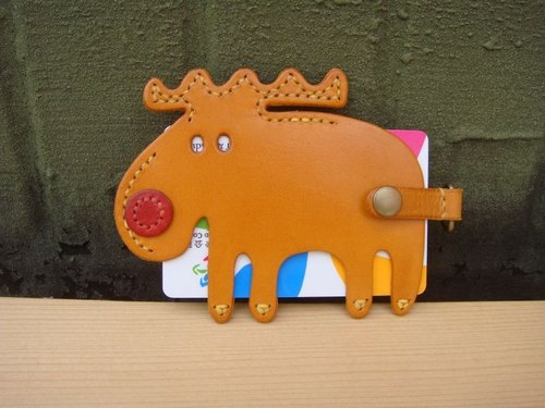[ISSIS] all handmade leather red nose and elk shape travel card sets