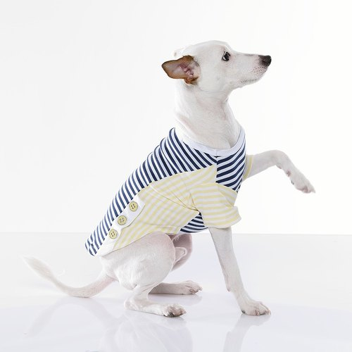 [ Fabrizio ] method Beach modeling short-sleeved round neck striped geometric mosaic pet clothing