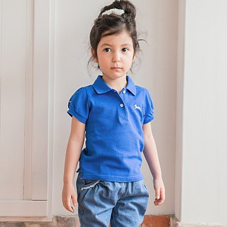 Princess sleeve cotton mesh Polo Shirt sapphire blue classic