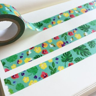 Monstera Leaves Washi Tape, Pansy and Bees Teal Masking Tape, Watercolor Tropical Flower, Floral Tape