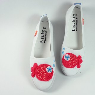 Leisure cotton canvas hand-made shoes goldfish fish models without weaving