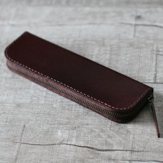 Dark brown classic cow hide leather pencil case