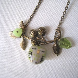 Cranberries tree owl necklace